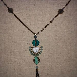 Tasseled turquoise necklace